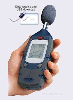 using the data loggign sound level meter